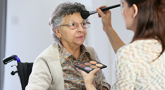 Helping Senior Women Do Makeup in Sacramento, CA